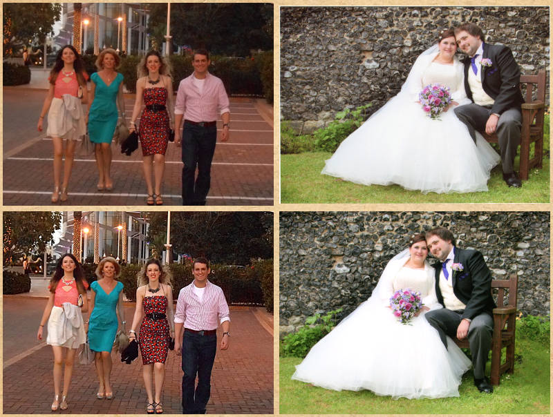 Examples showing enhancements and corrections to photos
