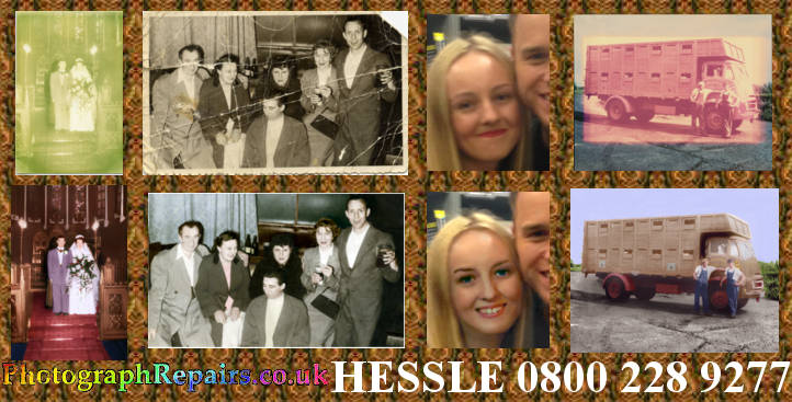 Examples showing faded photo repair, coloured copies of old photos, and changing a face in a photograph.  photographrepairs.co.uk Hessle O8OO-228-9277