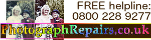 This website's logo: photographrepairs.co.uk, free helpline: O8OO-228-9277 with picture showing before and after enhancements to a faded photograph.