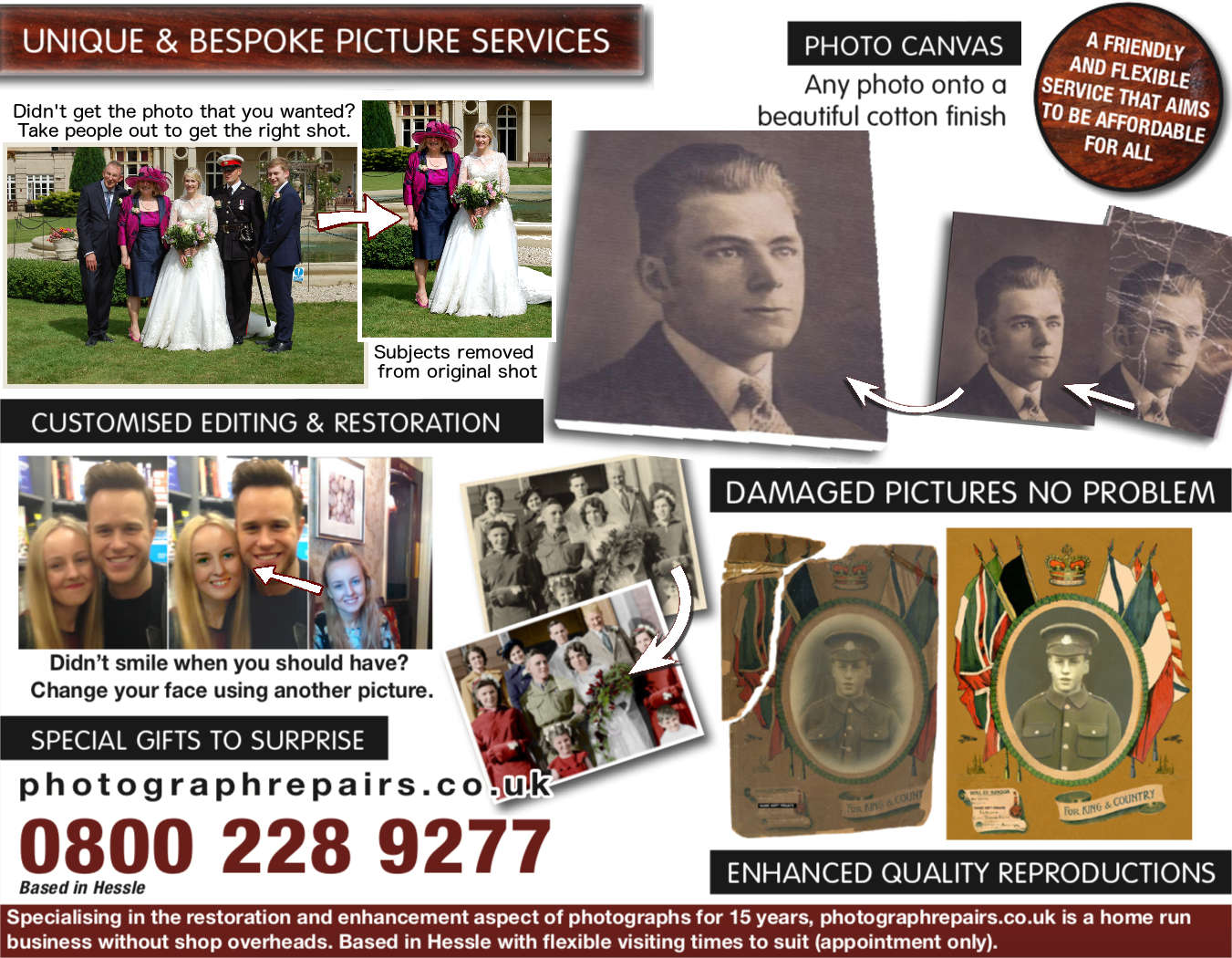 Unique and bespoke picture service examples showing restoration and enlargement of a small crinkled photo onto a canvas, photo face change and retouching, a hand coloured black and white photograph, and large old picture restoration.